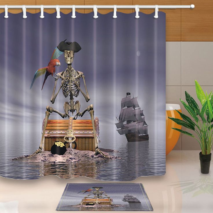 """Pirate Skull Body And Parrot Waterproof Fabric Shower Curtain Set Bathroom 71"""""""