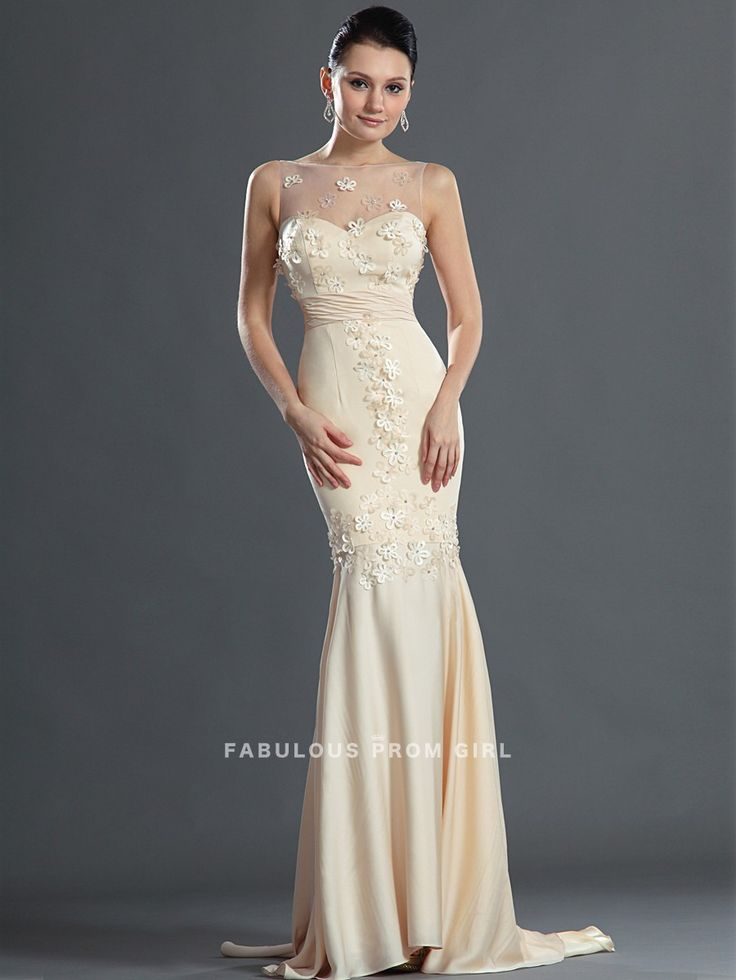 Trumpet / Mermaid Bateau   Applique  Sleeveless Floor-length Chiffon Prom Dresses / Evening Dresses