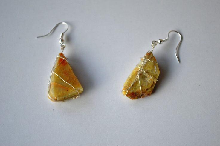 Natural yellow onyx earrings by ASweetScaleWorld on Etsy