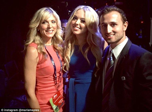 Supportive mom: Marla Maples posed with her daughter Tiffany and Tiffany's boyfriend Ross ...