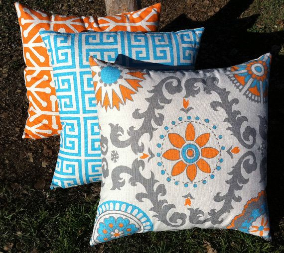 Turquoise and Orange Decorative Throw Pillows Set of Three Turquoise Orange Pillow Blue and Orange Pillow 18x18 Inches