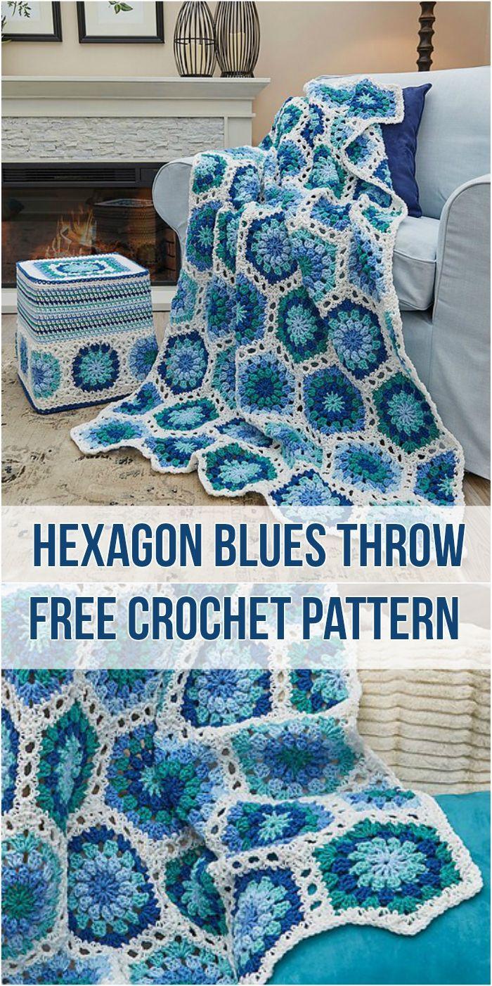 Crochet Hexagon Blues Throw Free Crochet Pattern Crocheting