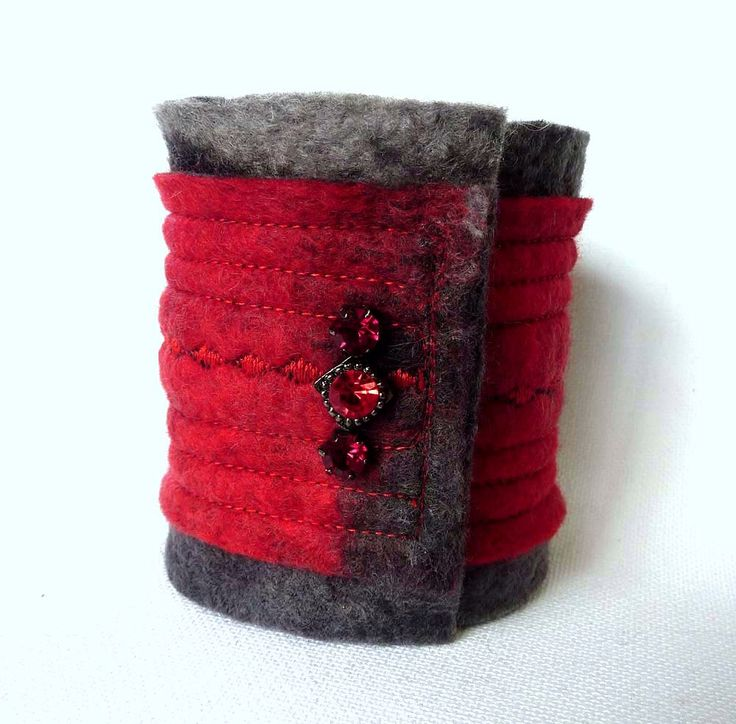 Beaded Cuff - Fabric Cuff Bracelet - Red and Black Wool Felt - Arm Cuff by Sesenarts on Etsy https://www.etsy.com/listing/185858831/beaded-cuff-fabric-cuff-bracelet-red-and