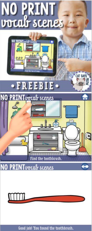No Print Freebie! Vocab Scenes (vocabulary, speech therapy)