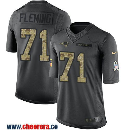 Men's New England Patriots #71 Cameron Fleming Black Anthracite 2016 Salute To Service Stitched NFL Nike Limited Jersey