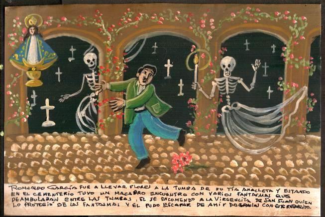 Ромуальдо Гарсия отправился возложить цветы на могилу своей тёти Анаклеты. На кладбище у него произошла кошмарная встреча с призраками, прогуливающимися вдоль могил. Он вверил себя Деве Сан-Хуанской, чтобы она защитила его, и смог убежать оттуда. За что благодарит этим ретабло.