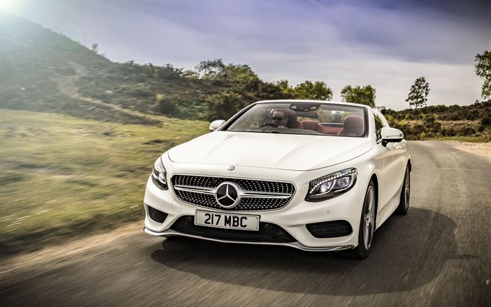 Download wallpapers Mercedes-Benz S-class, 2017, Cabriolet, AMG line, 4k, white convertible, luxury cars, front view, German cars, white S-class, Mercedes