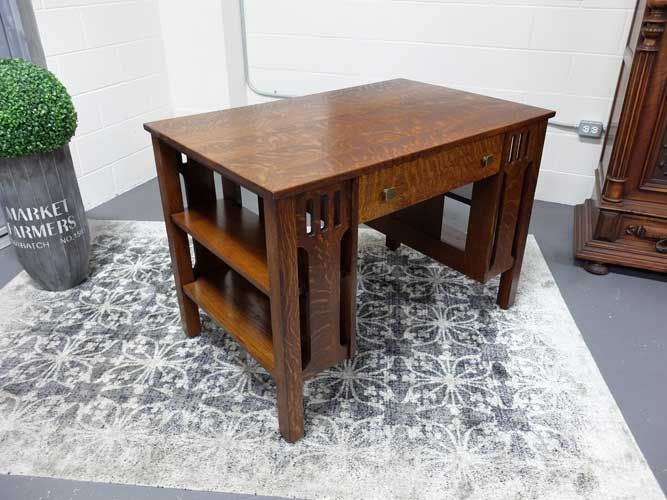 Antiques By Design - Arts + Crafts quarter sawn Oak library table or desk  with bookcase