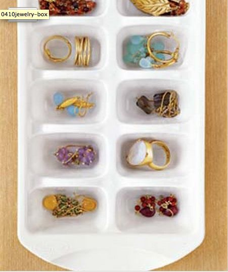 Keep jewelry organized in an ice cube tray.   37 Ingenious Ways To Make Your Dorm Room Feel Like Home
