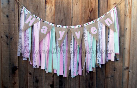 GARLAND & NAME BANNER  Pink Mint and White by fringeswithbenefits