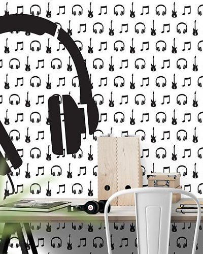 Behang muziek met gitaar en koptelefoon zwart wit | wallpaper music headphone | Designed by Tinkle&Cherry | www.tinklecherry.nl