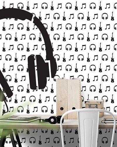 Behang muziek met gitaar en koptelefoon zwart wit | wallpaper music headphone | Designed by Tinkle&Cherry | www.tinklecherry.nl