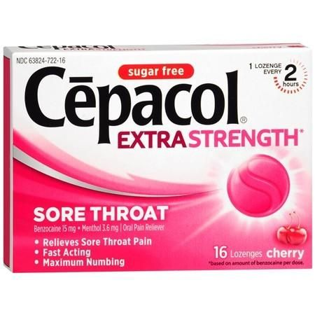 Cepacol Extra Strength Sugar Free Cherry Sore Throat Lozenges, 16 Count
