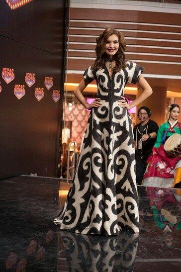 Платья с казахским орнаментом фото