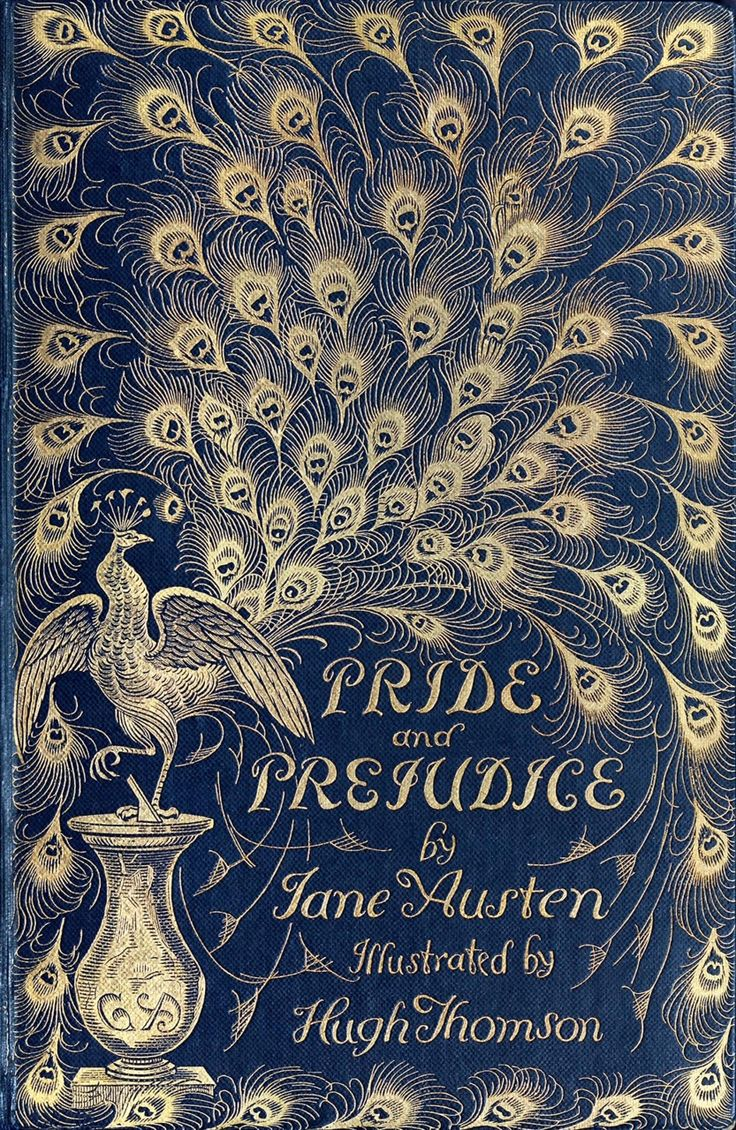 Front cover from Pride and prejudice, by Jane Austen, illustrated by Hugh Thomson. London, 1894.  (Source: archive.org)