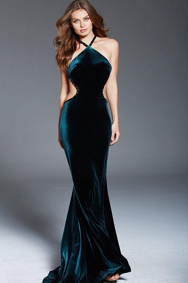 6190e7b2c2 Jovani - 60527 Embellished Halter Velvet Sheath Dress  dress  womendress   dresses  womendresses
