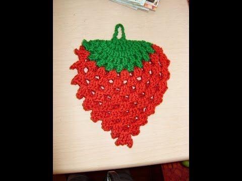 ▶ Tutorial de tejido en crochet agarradera con forma de Fresa 1 de 3 - YouTube
