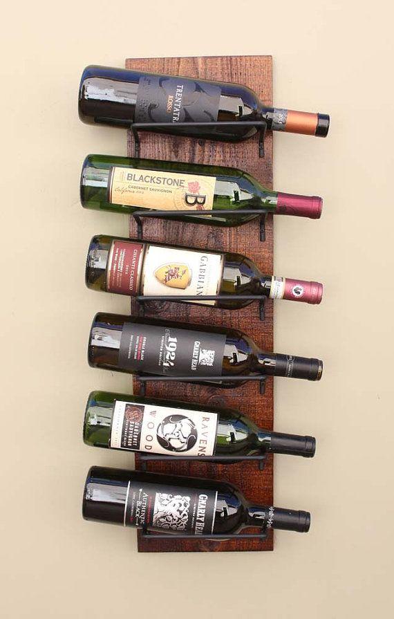 Wall Wine Rack - 6 Bottle Tuscan Iron & Wood Wine Rack Burned Barn Color