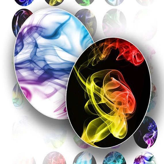 Cameo digital collage sheet graphics art colorful rainbow smoke images abstract oval jewelry making supplies