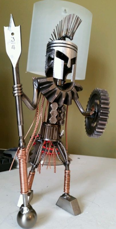 Welded Scrap Metal Art King Leonidas Spartan 300 Piston
