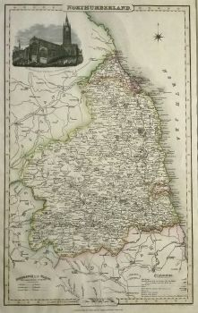 Antique Maps   UK England   Northumberland   Map by James Pigot (Ref 1000344)