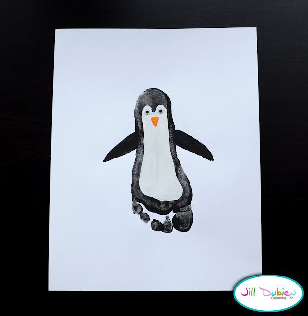 Footprint Penguins! So adorable! My son is in love with penguins! I am gonna do this with all of our feet and frame it for art in his room.