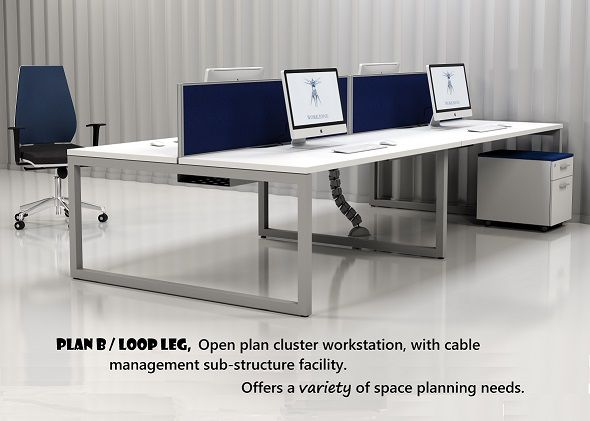 Workzone's Loop leg open plan cluster workstation, offering a variety of space planning needs.