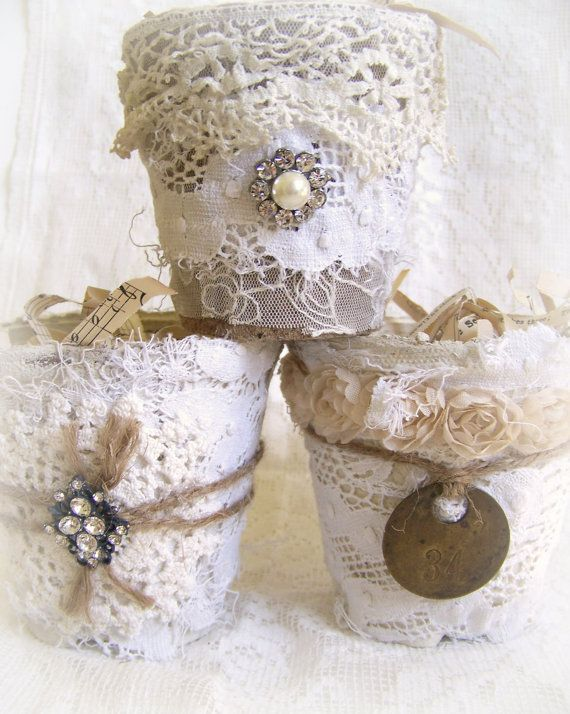 RESERVED for Sandra Altered Peat Pot Shabby White Decor by QueenBe