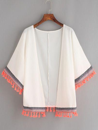 White Woven Tape and Tassel Trimmed Chiffon Kimono -SheIn(Sheinside) Mobile Site