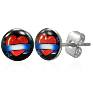 Heart and ribbon stud earrings