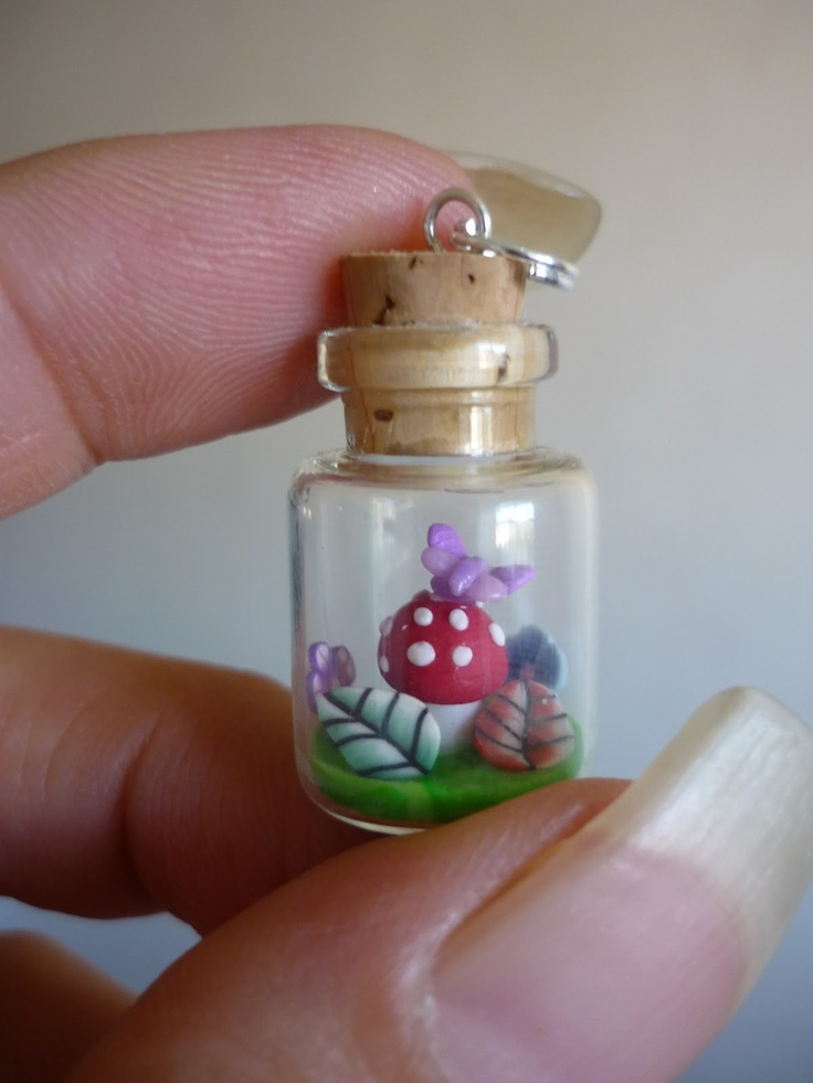 Polymer Clay Mushroon With Butterfly On Top In Tiny 16mm