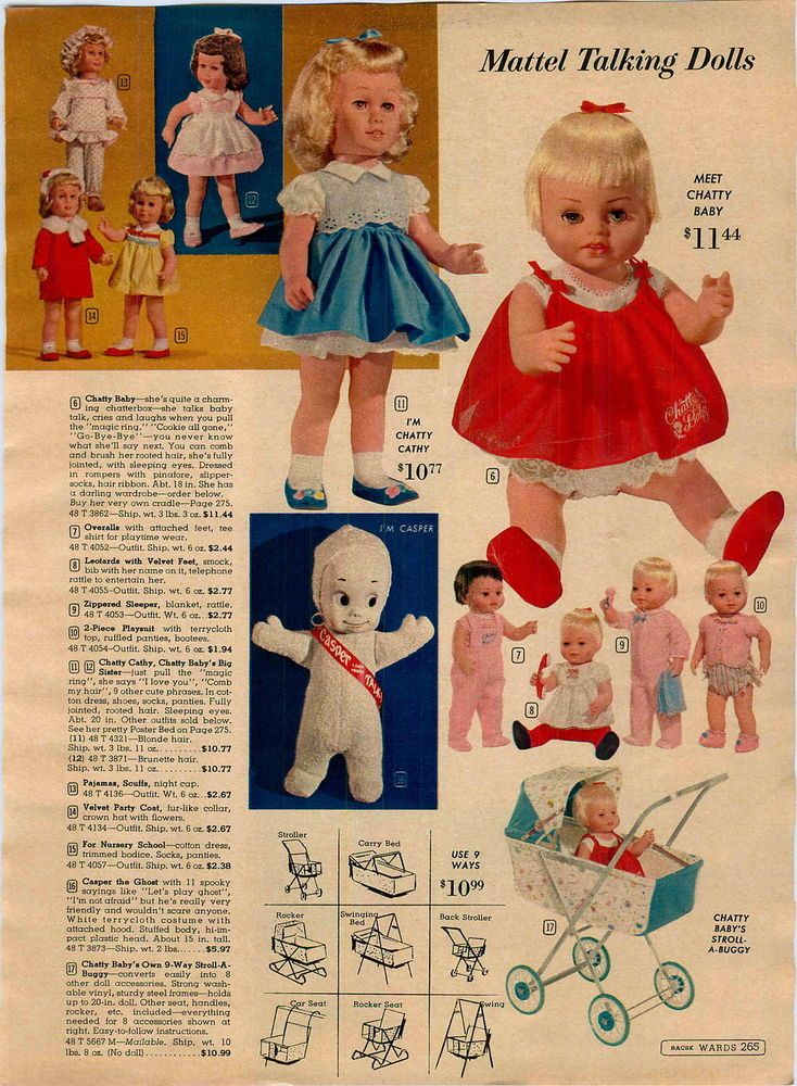 1963 ADVERTISEMENT Mattel Talking Doll Chatty Cathy Baby Casper Ghost Tiny Tears