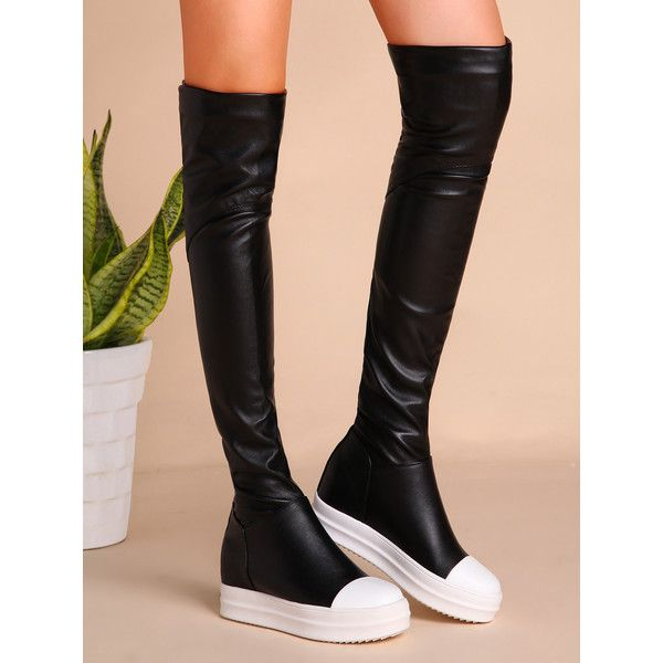 Black PU Cap Toe Flat Knee Boots Lining: Faux Leather Outsole Material: Rubber Style: Casual Season: Winter Boot Style: Knee High Color: Black Upper Material: …
