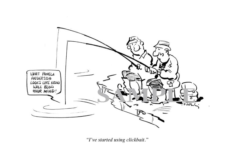 Cartoon, Clickbait, fishing, Dad, Fathers, Gift...  New Yorker style cartoon, original, ideal as a gift, get it on etsy.com/ie/shop/InkBig