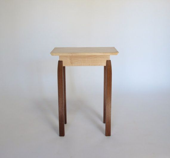 Narrow End Table: Tiger Maple & Walnut -Handmade Custom Wood Furniture- Accent Table, Small End Table, Bed Side Table