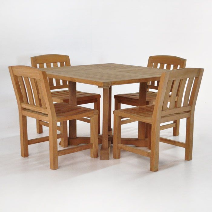 A Square Pedestal Dining Table With 4 Newport Dining Side Chairs Made Of A  Grade Teak, A Sturdy Outdoor Dining Set Available From Teak Warehouse.