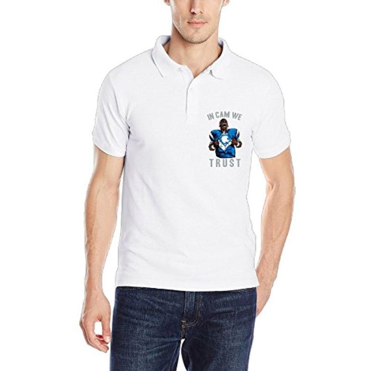 Cam Newton In Cam We Trust Man Of Steel Mens Short Sleeve Polo T-shirt Size XXL Color White - Brought to you by Avarsha.com