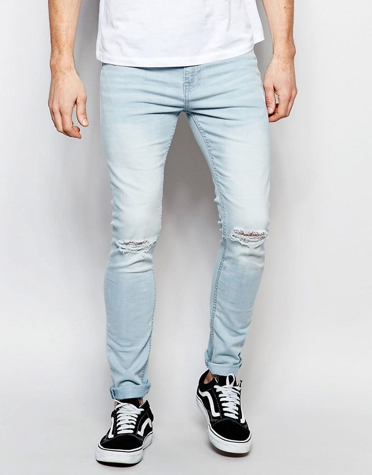 Image 1 of New Look Super Skinny Jean in Light Blue with Rips