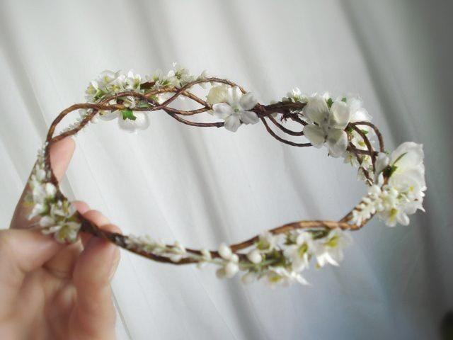 white wedding hair flower wreath - ANGEL HAIR - a vine circlet accessory. $65.00, via Etsy.