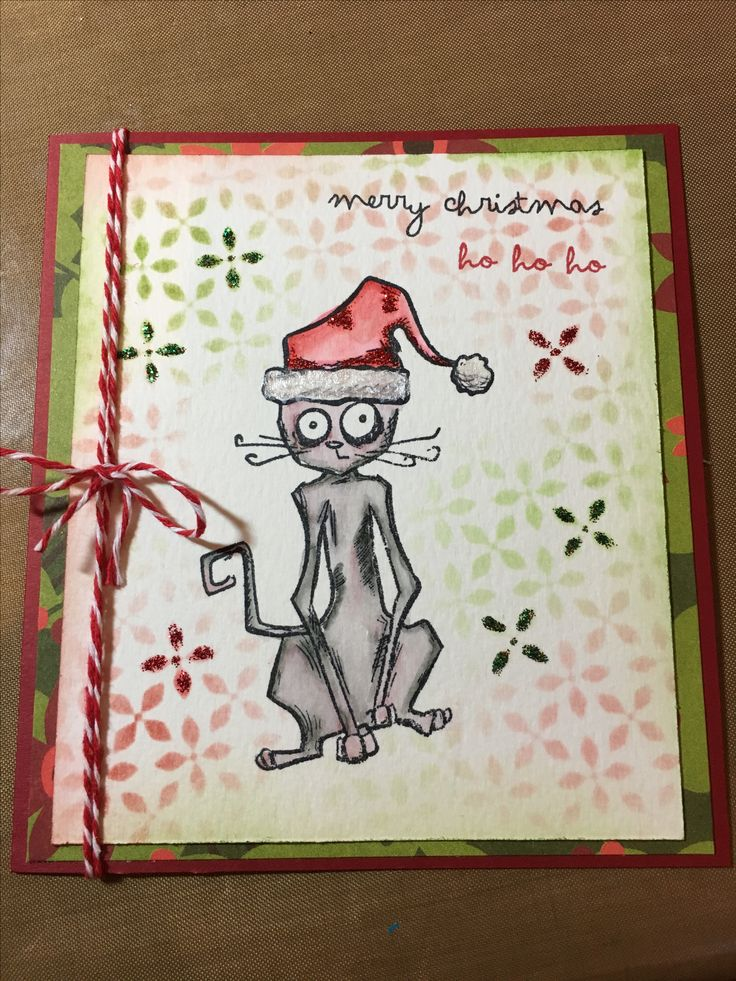 Crazy cats Christmas card, Tim Holtz stamp