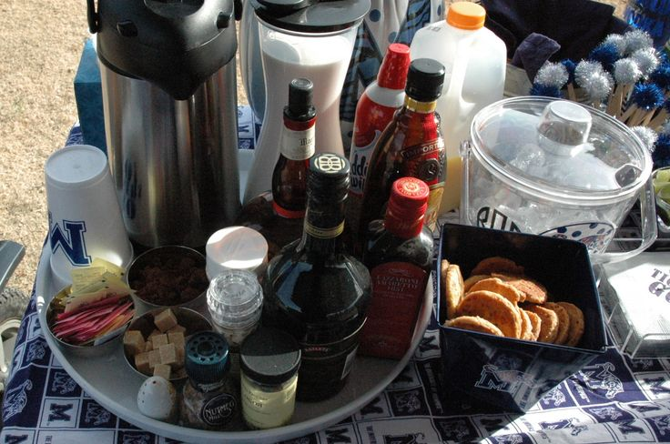Coffee Bar for tailgating at your Saturday college football games.  Order foam cups and beverage napkins with one of our Signature Collection of Collegiate Designs. Perfect for that person that needs coffee to help them wake-up after partying Friday night.
