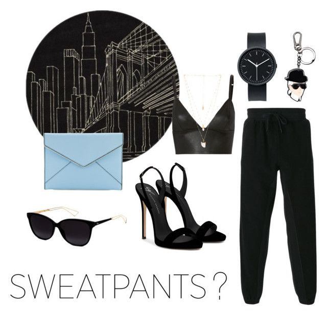 """""""Sweatpants?"""" by sgeoghegan ❤ liked on Polyvore featuring Momeni, T By Alexander Wang, Giuseppe Zanotti, Natalie B, Karl Lagerfeld, Christian Dior, Rebecca Minkoff and Uniform Wares"""
