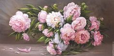 """Купить """"Весенние цветы """" - бледно-розовый, пионы в вазе, картина с пионами, картина цветов"""