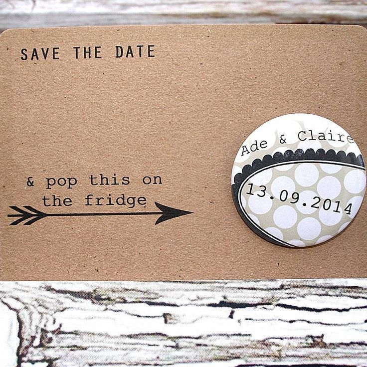 badge or magnet save the date by orange blossom design   notonthehighstreet.com