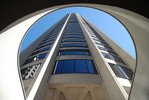 The view up to Australia Square tower.
