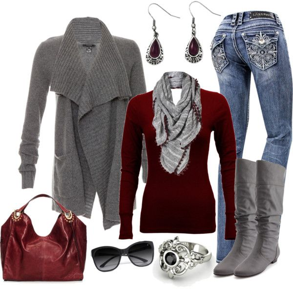"""""""Burgundy and Gray"""" by smores1165 on Polyvore"""