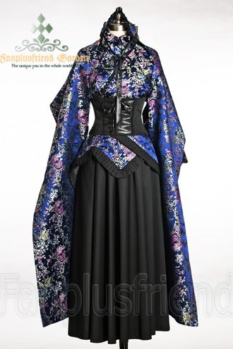 Pure Satin Kimono, large trimmings and laces, Long Skirt in black stretchy cotton, Detachable Back Tie Black Sash Long Shawl Hair Band Fabrics: Silk Satin+Heavy cotton | Colors: Black+blue+Purple+Silver | More: fabrics, colors