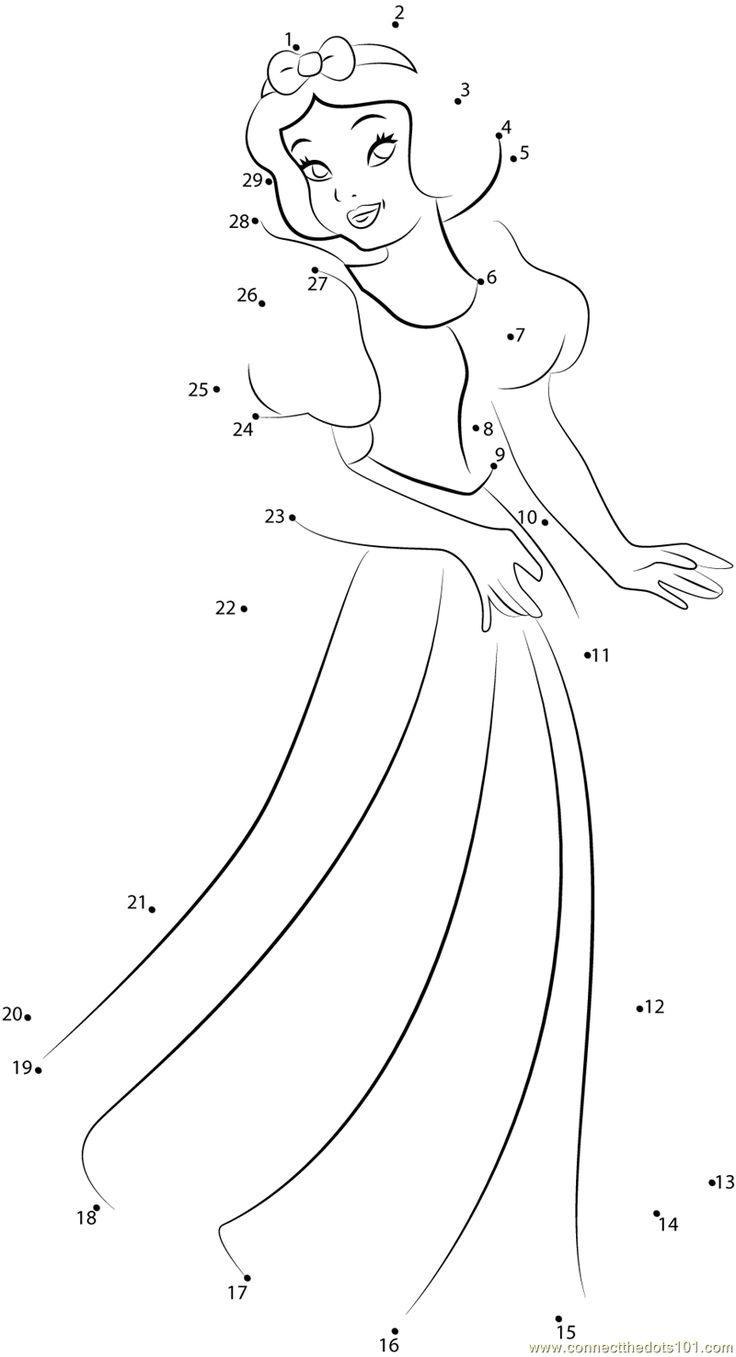 Disney Princess Snow White dot to dot printable worksheet - Connect The Dots