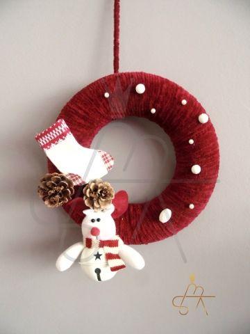 Handmade Christmas Wreath-Χειροποιητο πλεκτο στεφανι