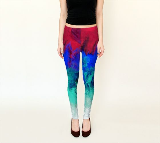 Fire and Ice Abstract Print - Pink, Blue, and White Legging - Yoga Leggings